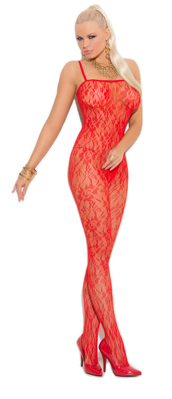 Rose Print Lace Bodystocking Red Front EM1610