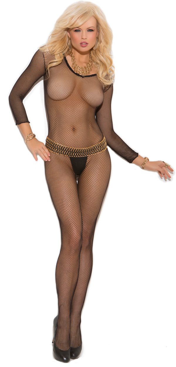 Fishnet Crotchless Body Stocking Black Front EM1615