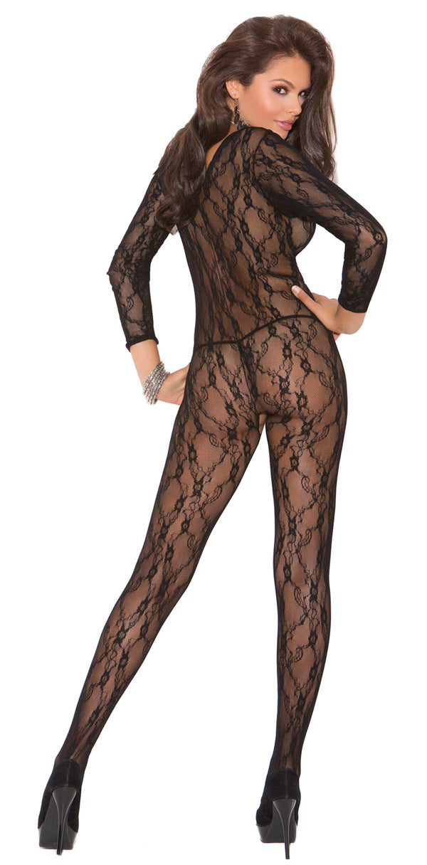 Black Lace Crotchless Long Sleeves Bodystocking Back EM1619