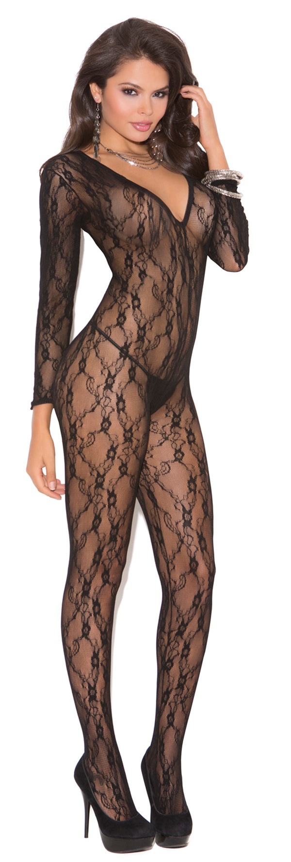 Black Lace Crotchless Long Sleeves Bodystocking Front EM1619