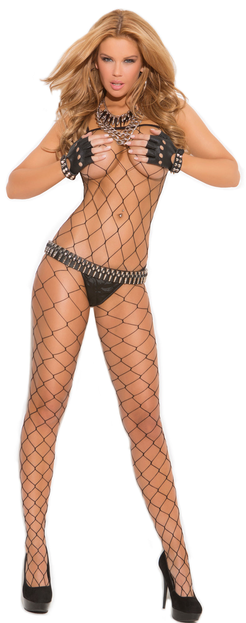 Diamond Fishnet Bodystocking black front EM-1622