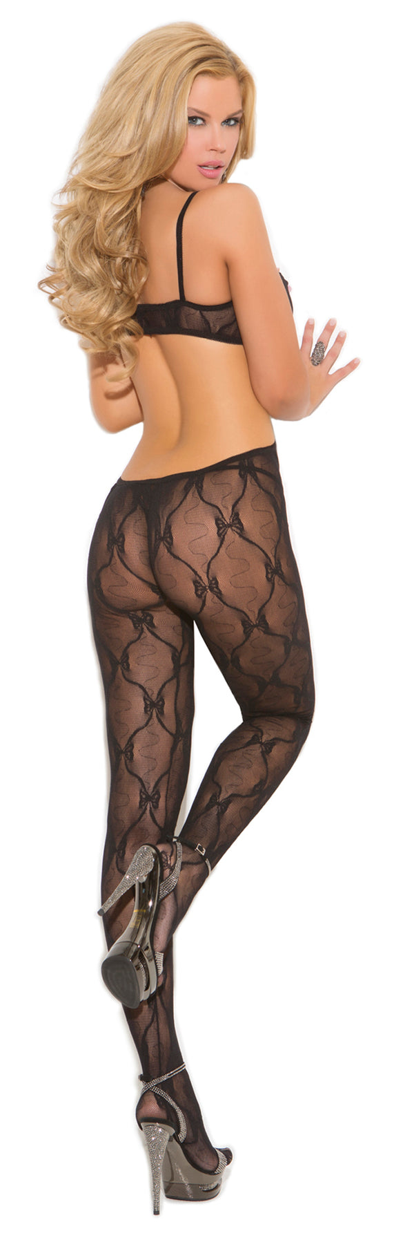 Black Crotchless Bow Tie Lace Bodystocking Back EM1662