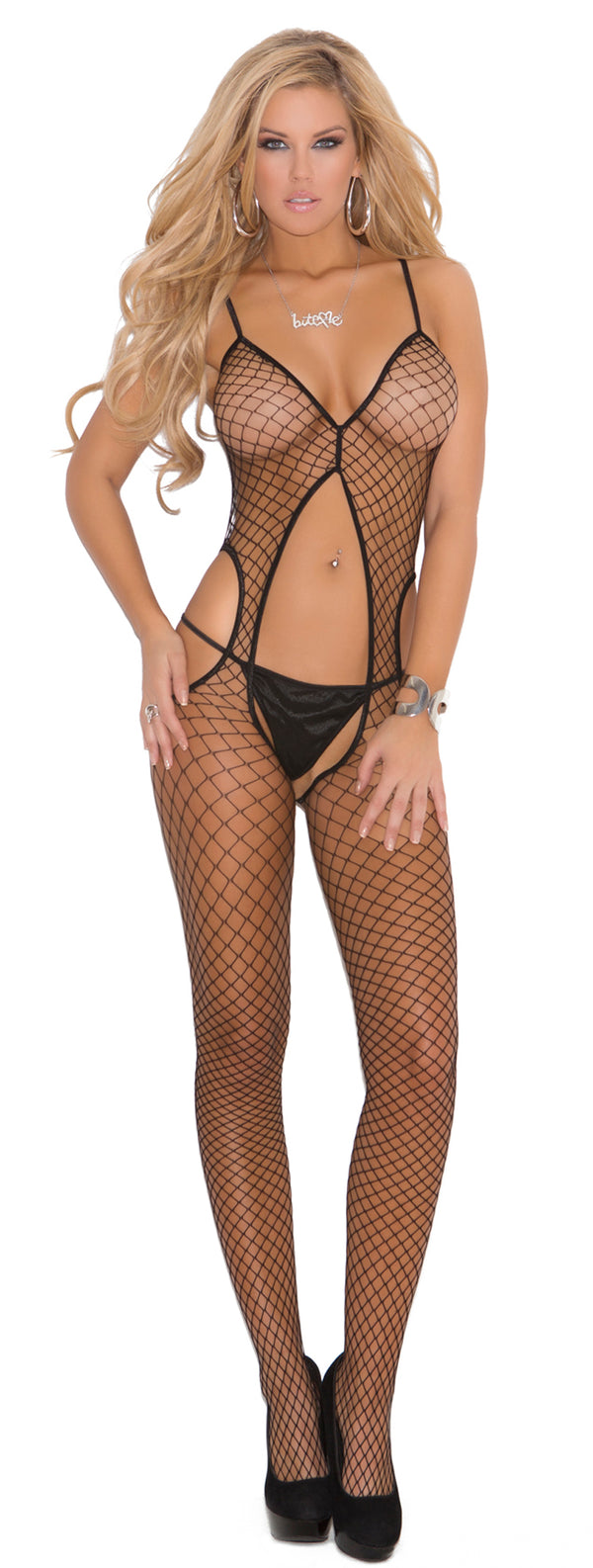 Black Diamond Net Crotchless Suspender Bodystocking Front EM1673