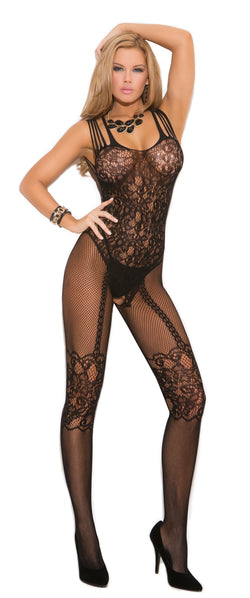Black Open Crotch Fishnet and Lace Bodystocking Front EM1689