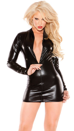 Black Sexy Siren Mini Dress Front  HPALR-17-1302K