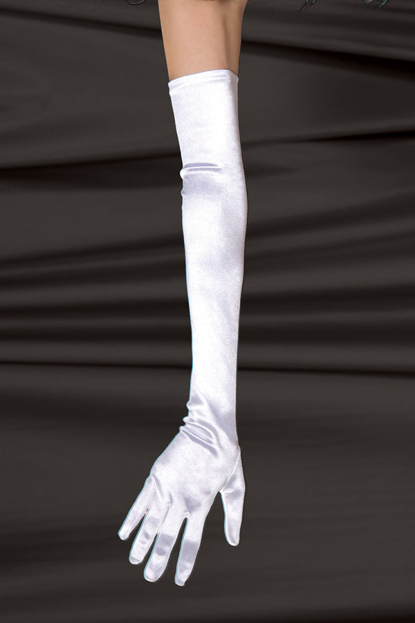 Satin Lycra Gloves Coquette 1705 white