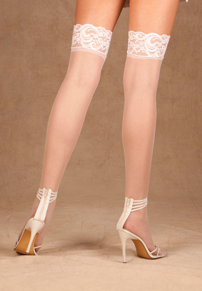 Sheer Lace Top Thigh High Stockings White Back EM1721