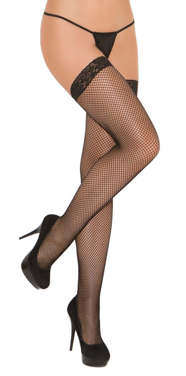 Fishnet Thigh High with Lace Top Black Front EM1775