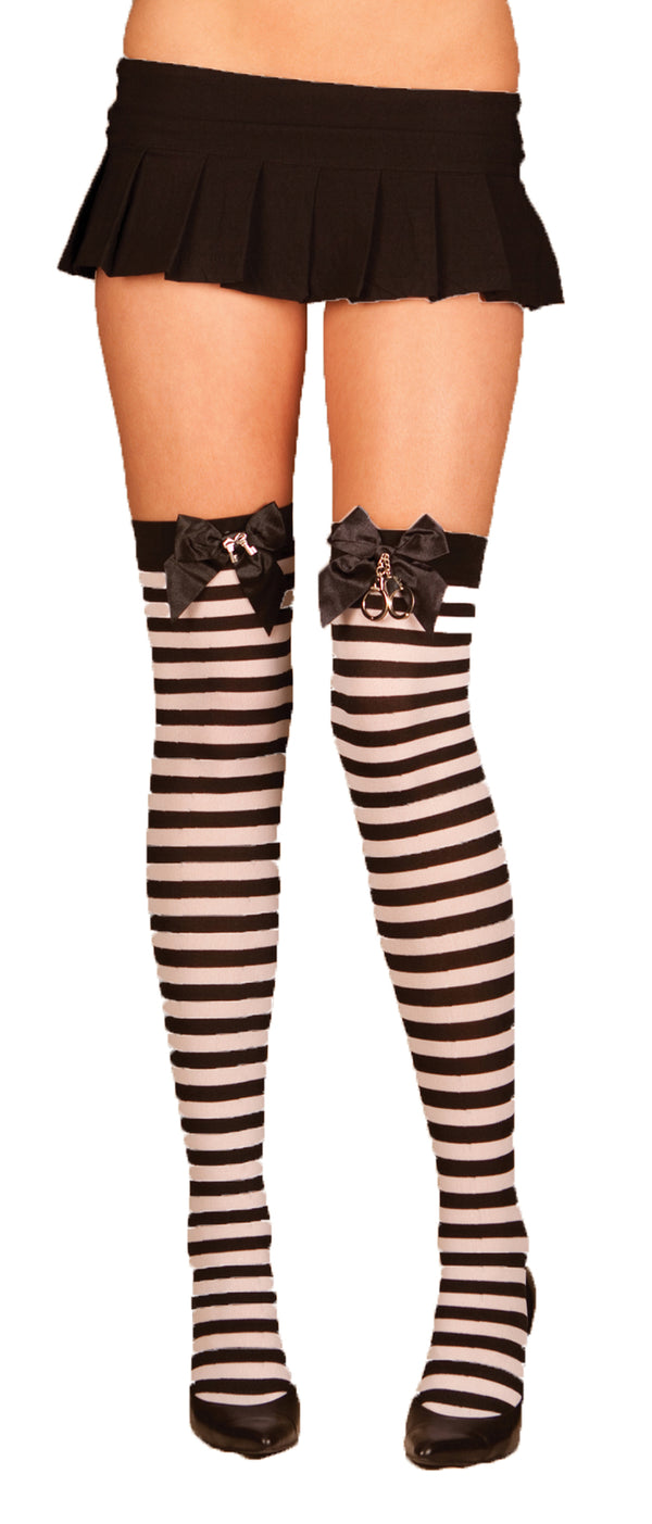 Striped Thigh High Stockings with Satin Bow and Handcuffs EM1824 Front