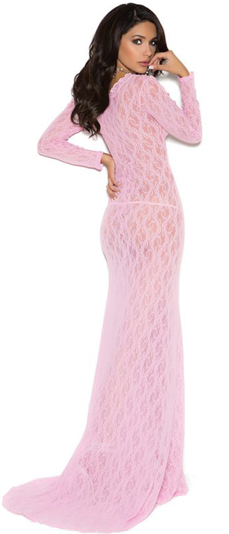 EM-1949 Long sleeve lace gown back
