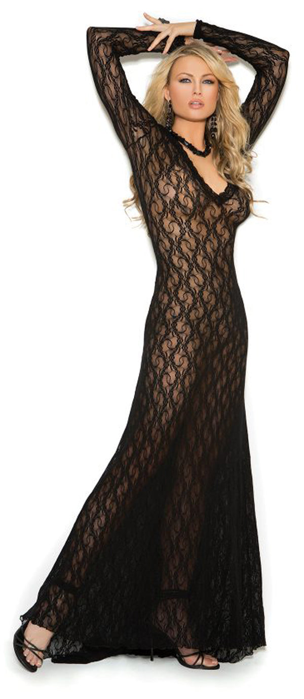 EM-1949 Long sleeve lace gown black main