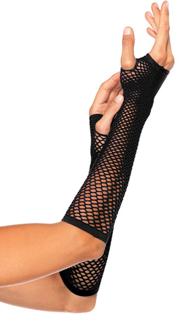 Fishnet Fingerless Gloves Black LA2024