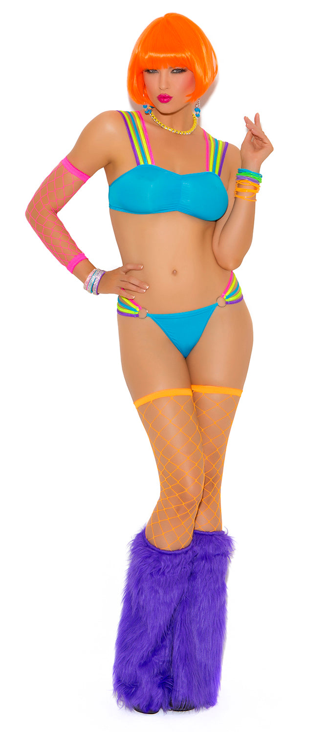 Neon Nites Lycra Strappy Bra and Thong Front EM2025