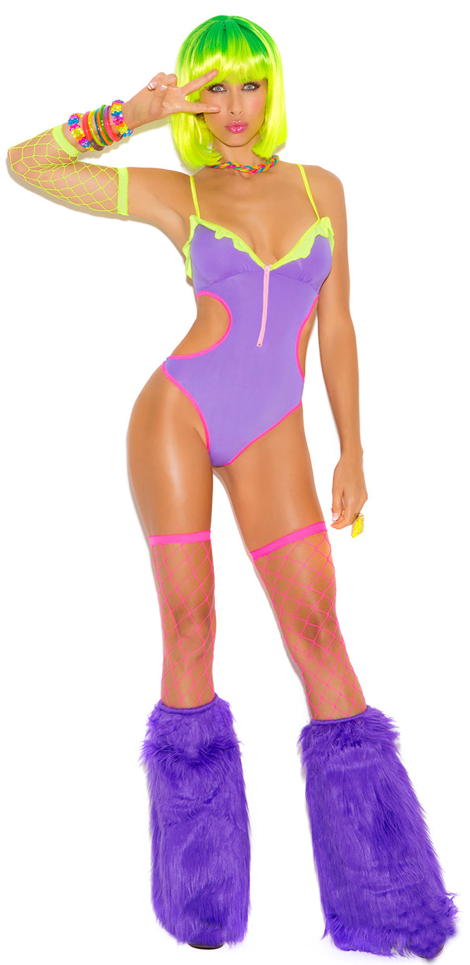 Neon Lycra Teddy with Side Cut Outs Front EM2028