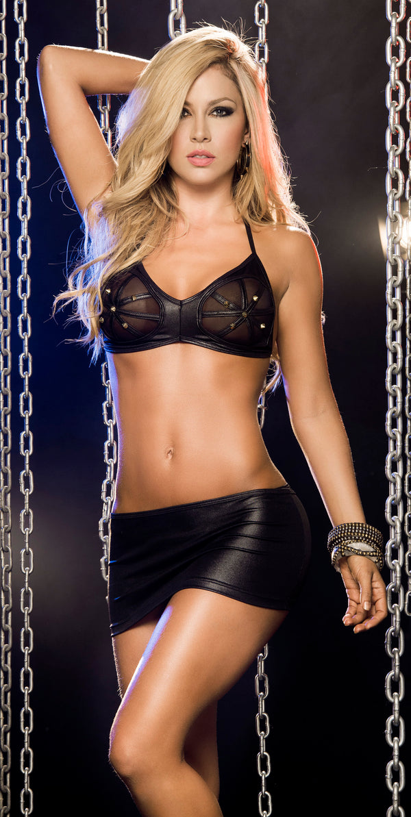 Bound Babe Bra and Skirt Set  Black Front ES2229