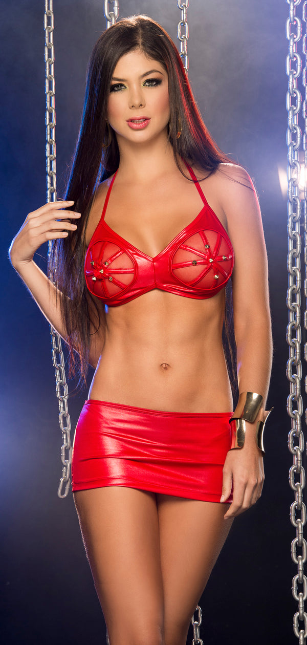 Bound Babe Bra and Skirt Set  Red Front ES2229