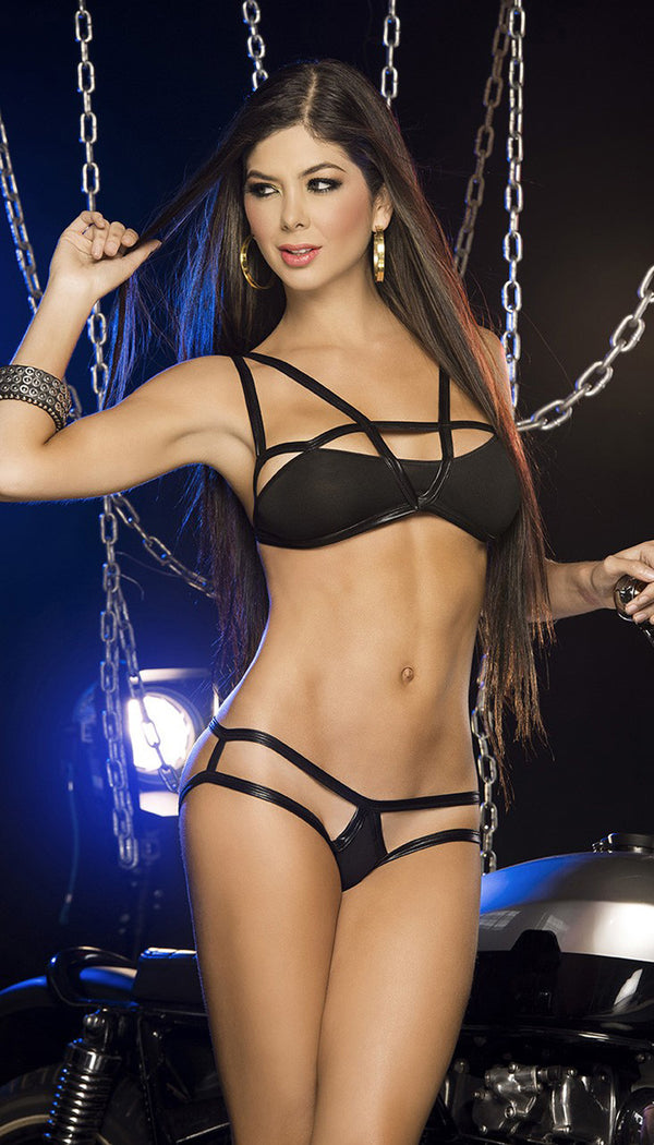 Black Strappy Bra and Panty Front ES2243