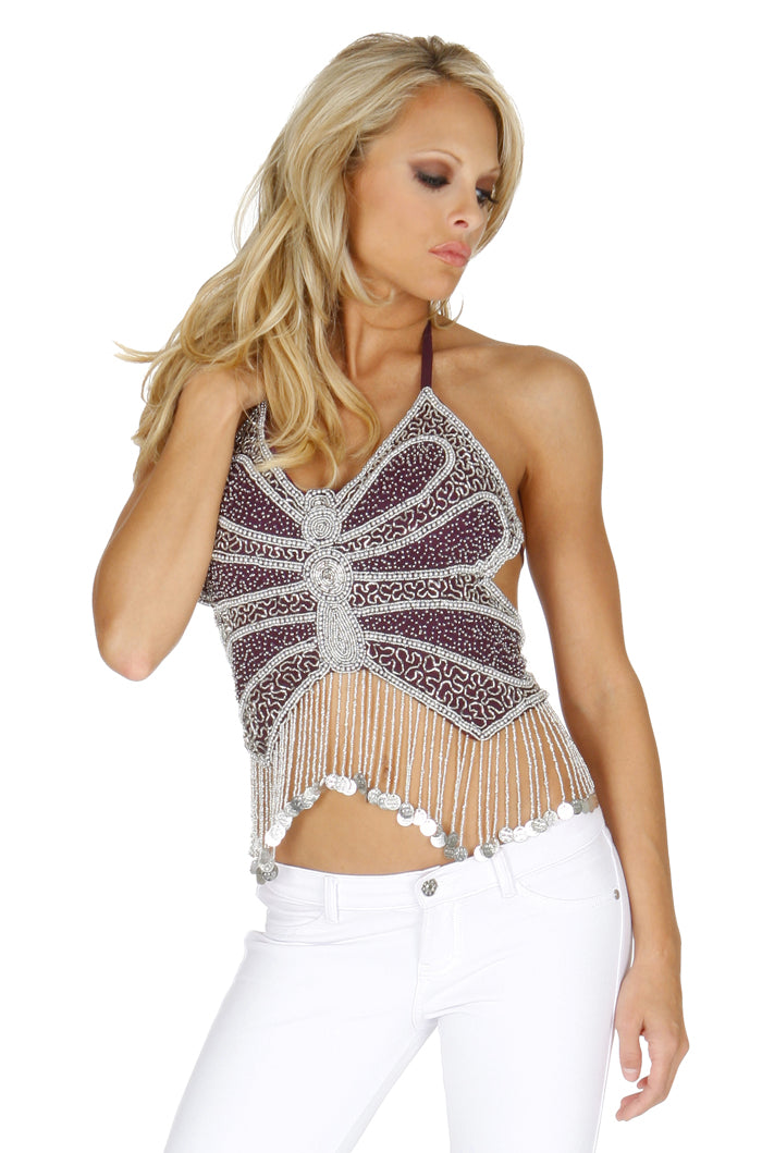 Butterfly Halter Beaded Top Front WF2622