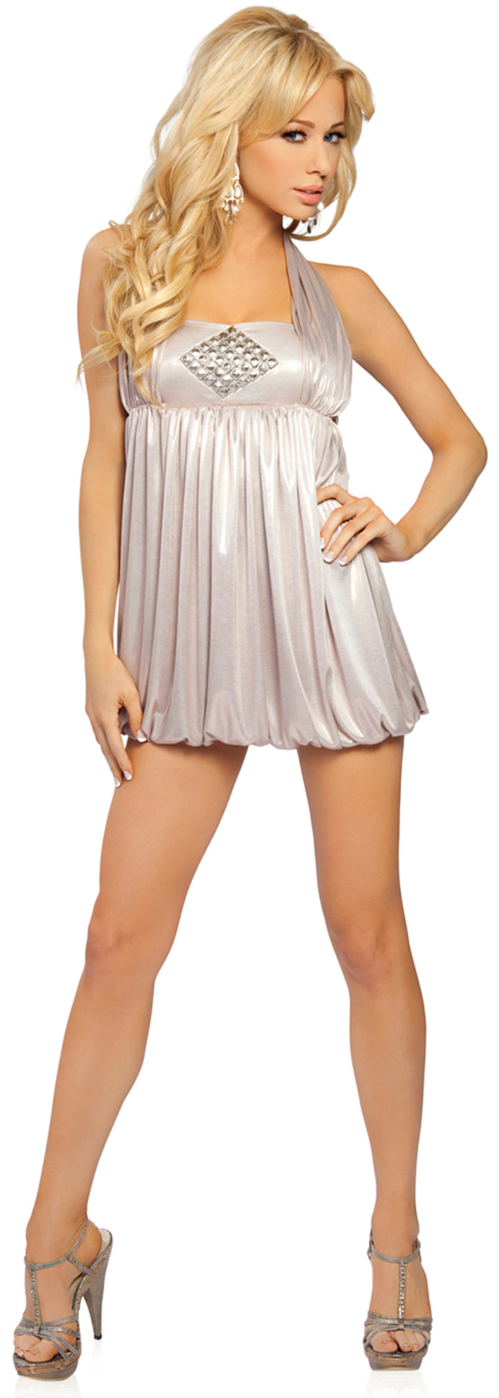 Halter Dress with Emblem Champagne Front RM2758
