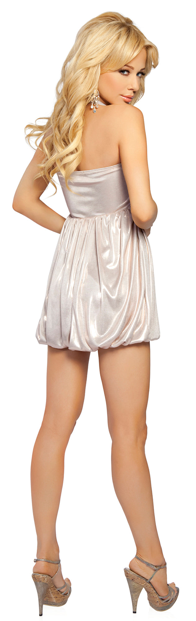 Halter Dress with Emblem Champagne Back RM2758