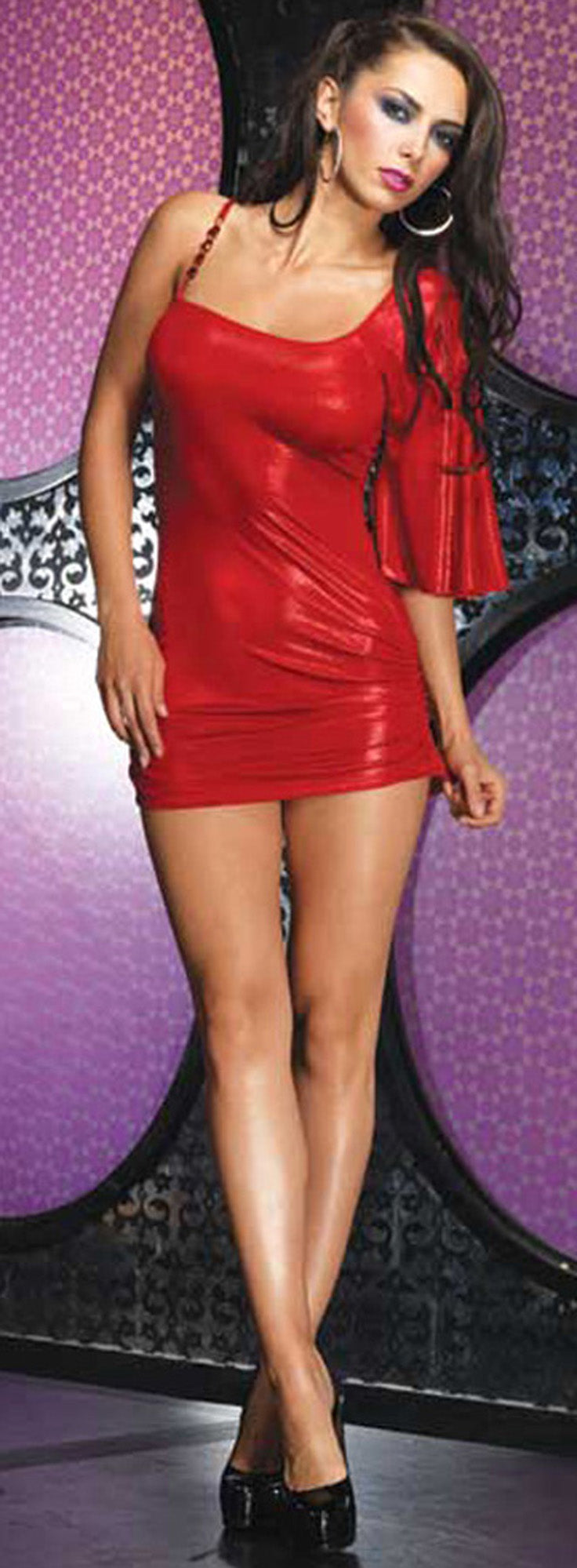 Foil Slinky Asymmetrical Mini Dress Red Front  LA28067