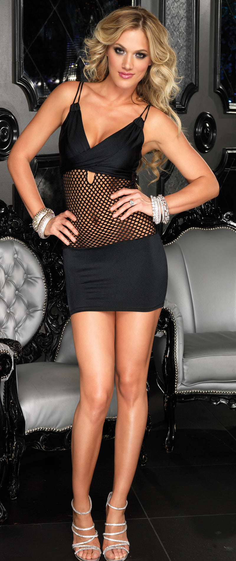 Spandex Black Mini Dress LA28080 Full