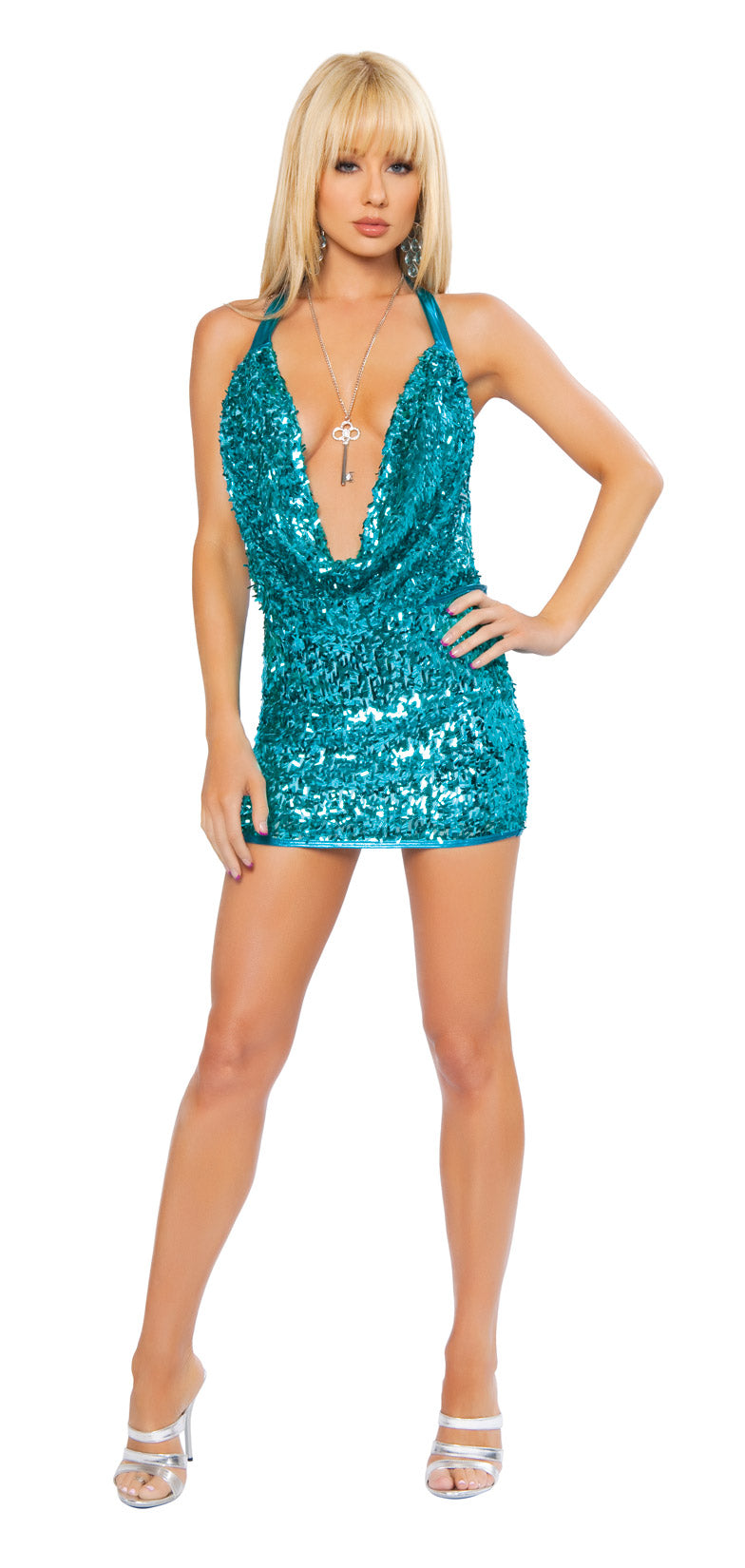 Sequin Cowl Neck Dress Turquoise Front RM3152