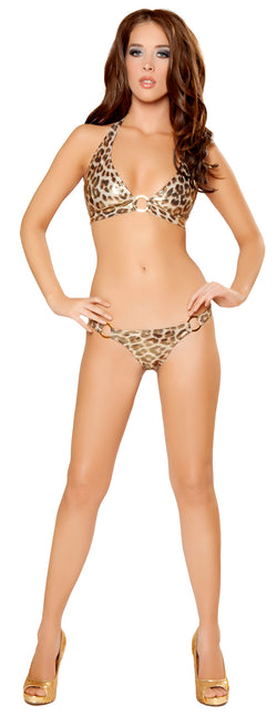 Metallic Animal Print Full Back Bikini Set Front RM2963GBLEO