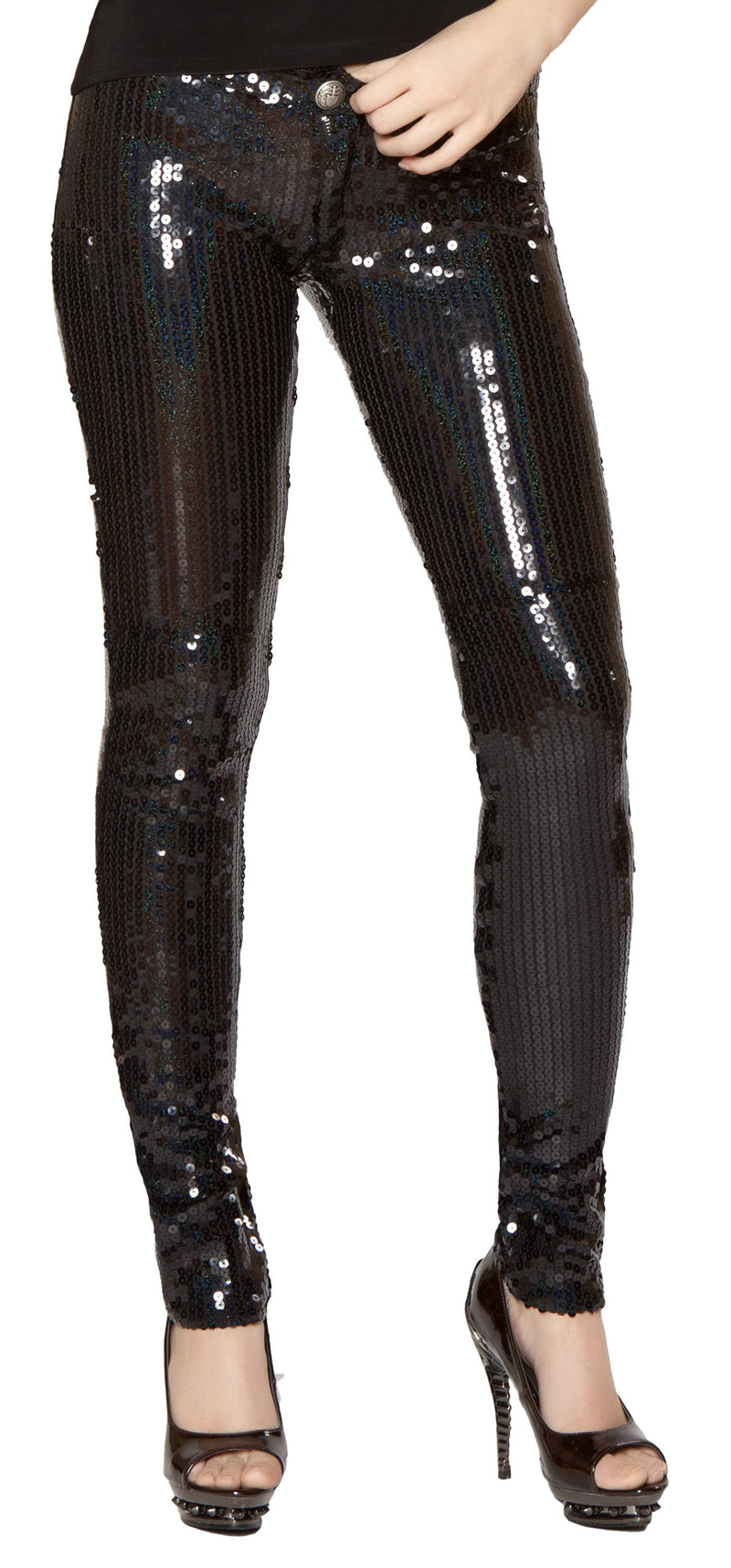Sequin Pants Black Front RM2977