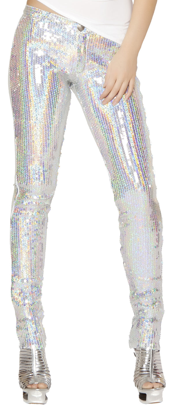 Sequin Pants Silver Front RM2977