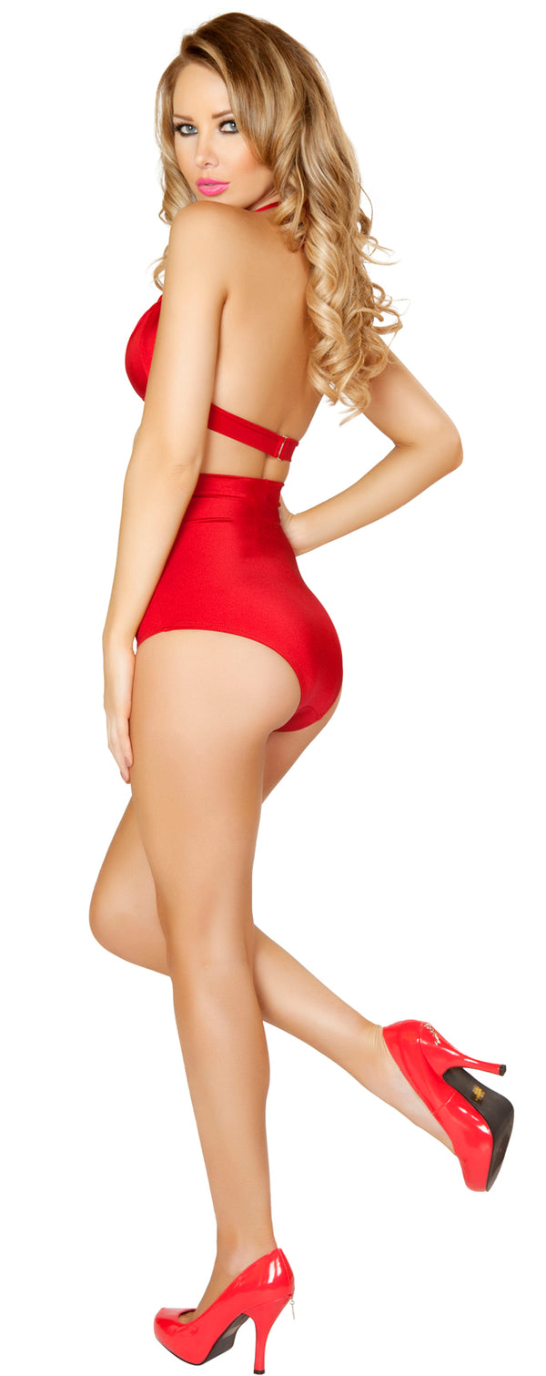 Red Banded Halter Top and High Waisted Short Back RM31083122R