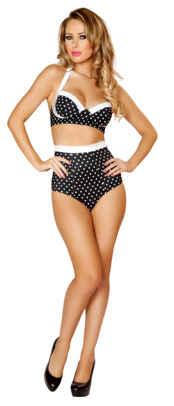 Black and White Polka Dot Pinup Bra and High Waisted Banded Short Front RM3121BW