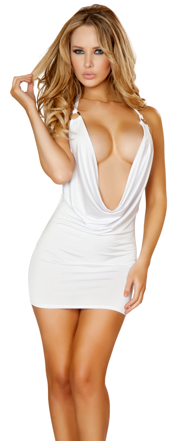 Halter Cowl Neck Mini Dress White Main RM3131A