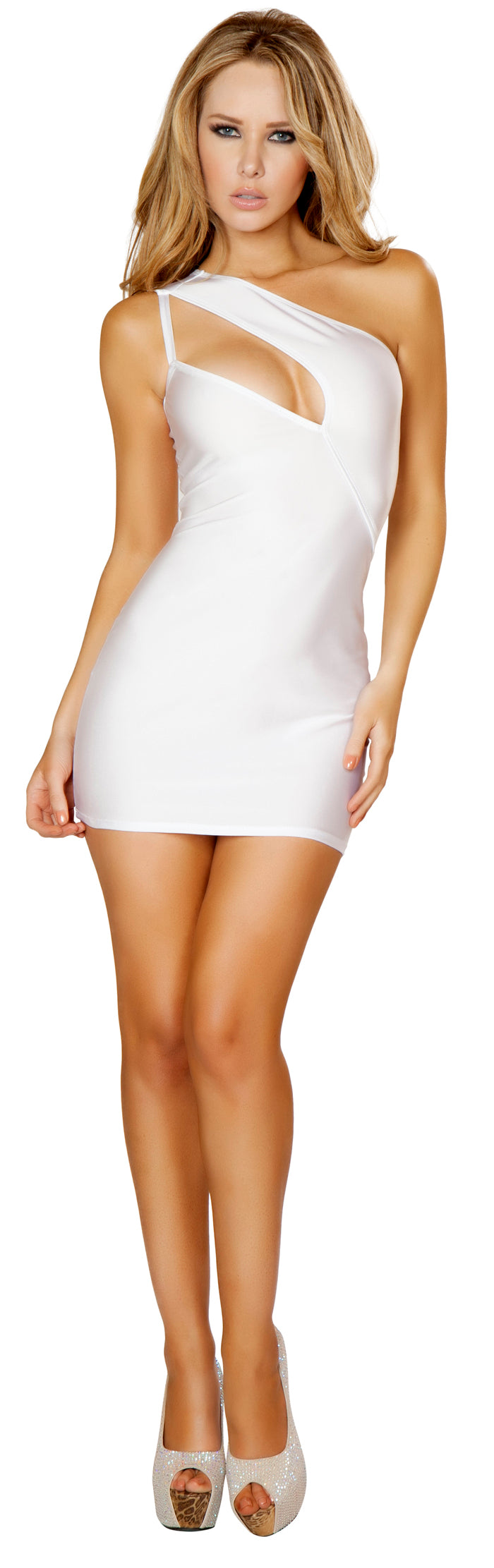 One Shoulder Cutout White Mini Dress Front RM3132WHT