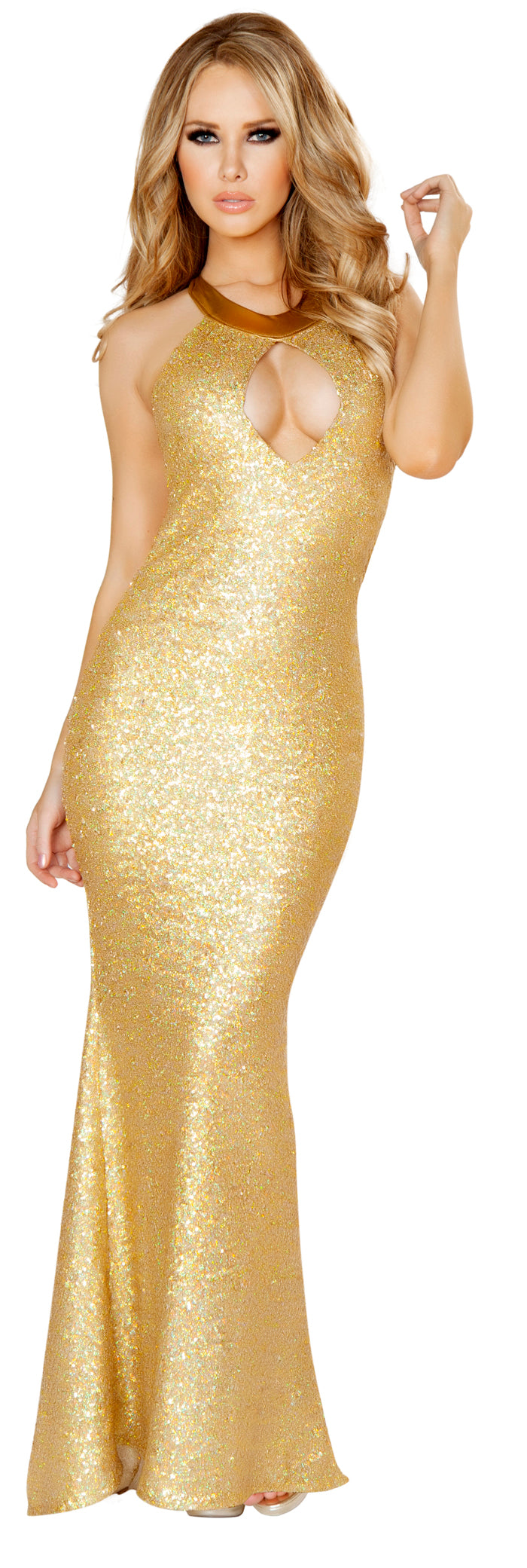Floor Length Sequin Gown With Cut Out Gold Front RM3154