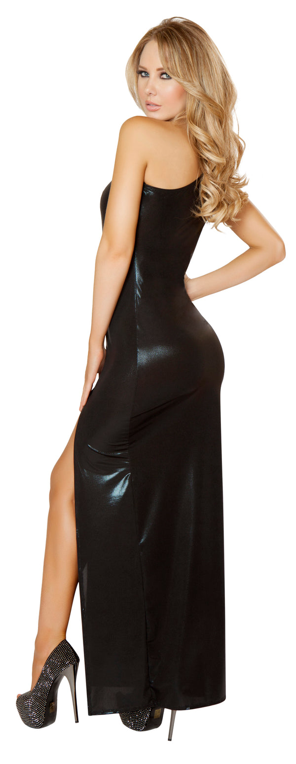 Wet Look Single Shoulder Gown Black Back RM3156