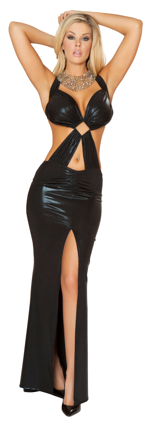 Wet Look Gown with Bra Top And Thigh High Slit Black Front RM3157
