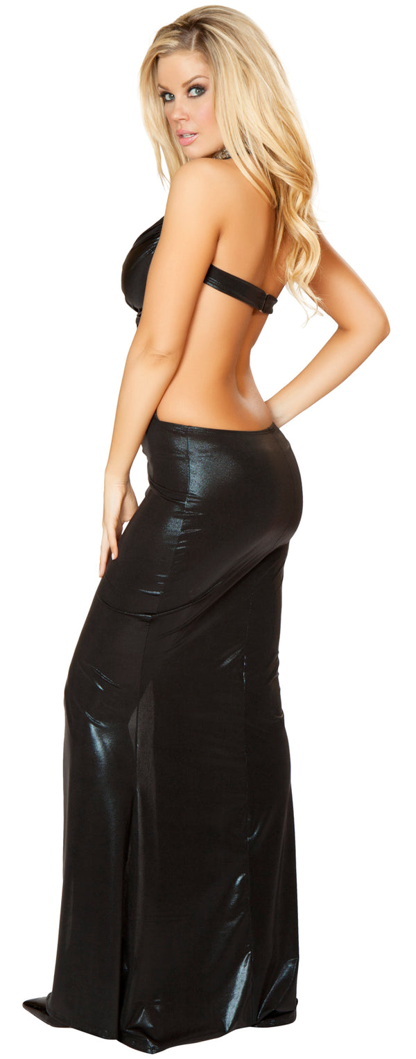 Wet Look Gown with Bra Top And Thigh High Slit Black Back RM3157