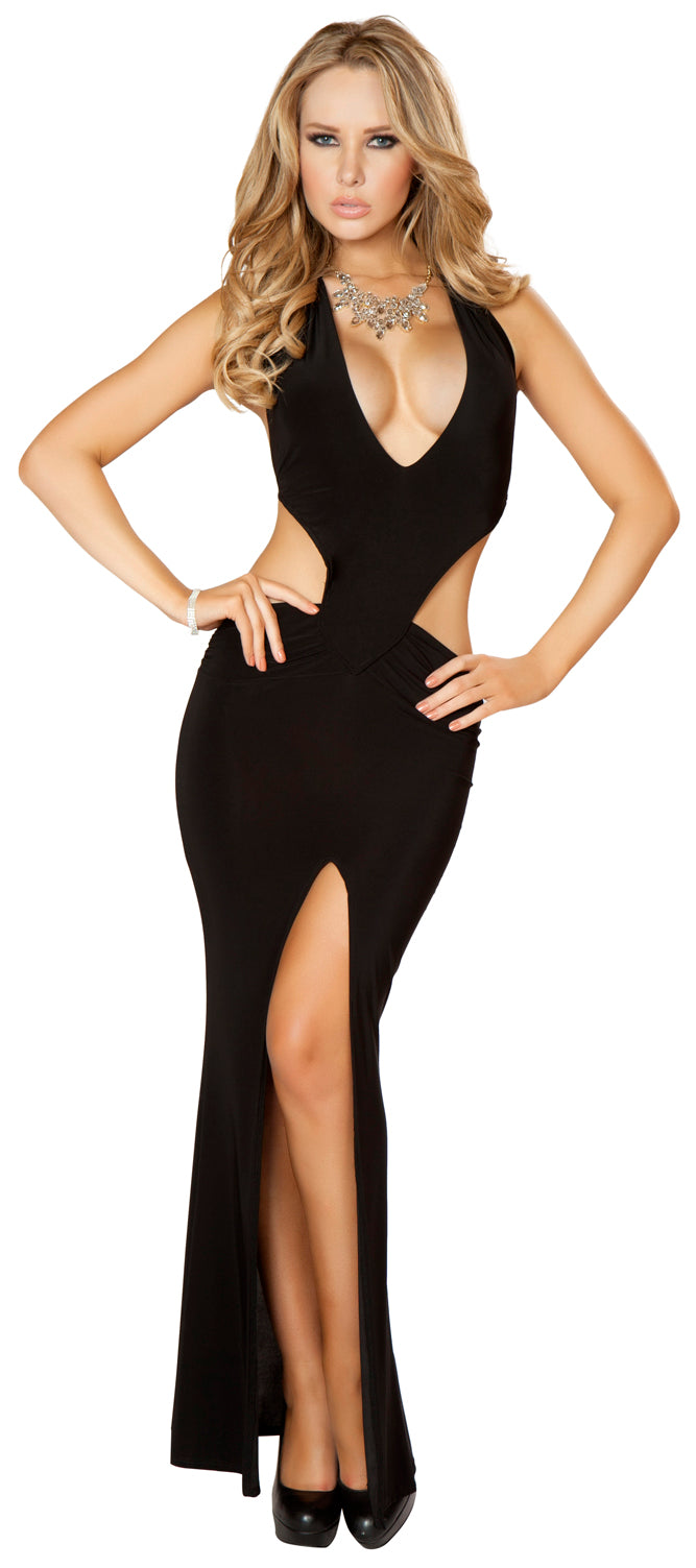 Cropped Top Scrunched Waist Long Gown Black Front RM3163