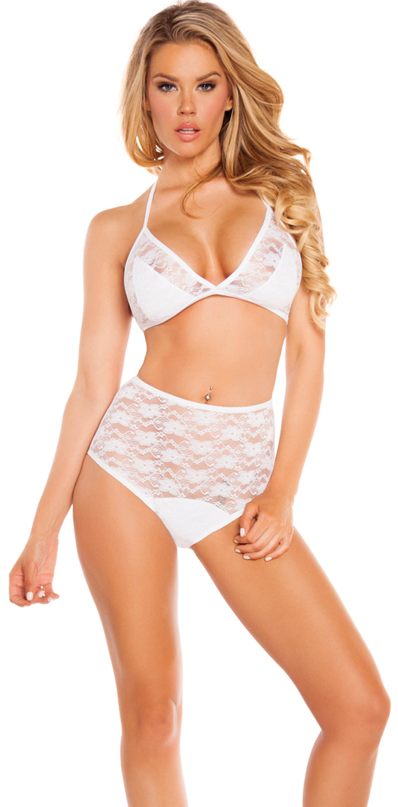 Lace Triangle Top White Lingerie Set Front RM3212WHT