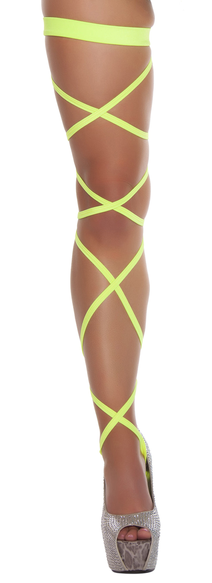 Solid Leg Strap With Attached Garters Yellow RM3231