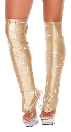 Leatherette Leg Warmers with Rhinestones RM-3234 Gold