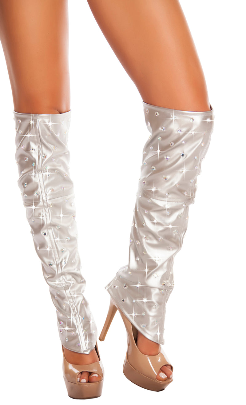 Leatherette Leg Warmers with Rhinestones RM-3234 Silver