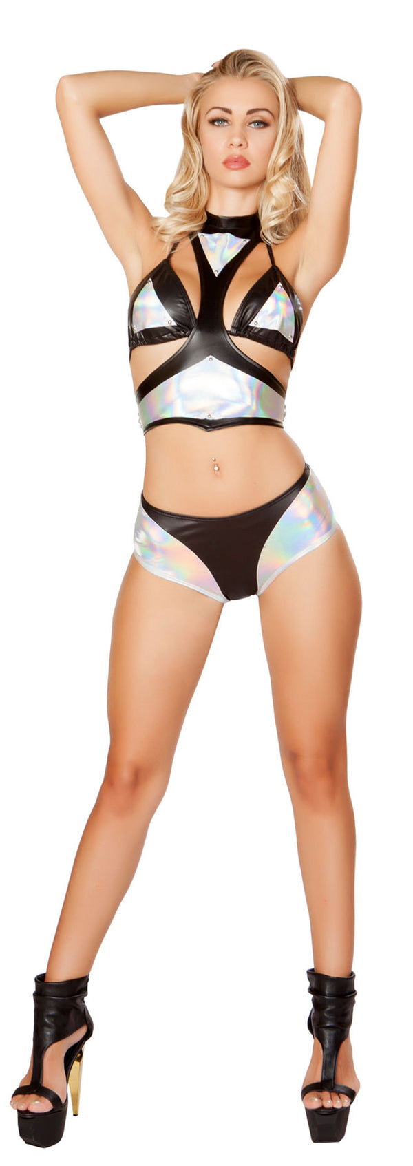 Black and Silver Short Set RM-3277 Front
