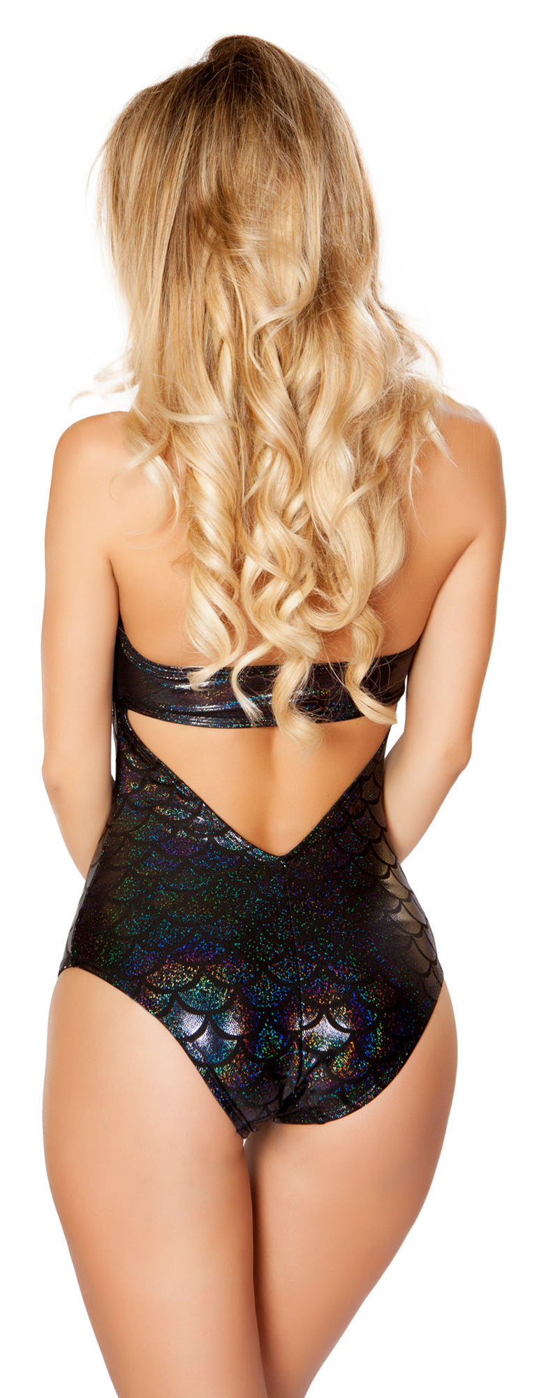 Black Mermaid Cut Out Romper RM-3279-BLK Back