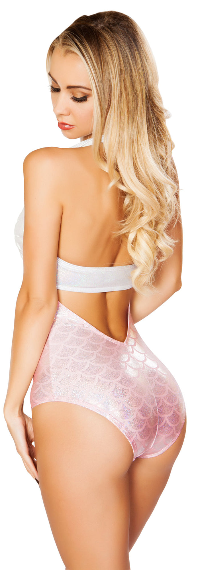 Silver and Pink Mermaid Cut Out Romper RM-3279-SILVER/PINK Back