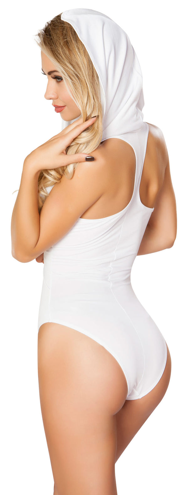 Hooded Rave Romper with Open Back RM-3290-WHITE back
