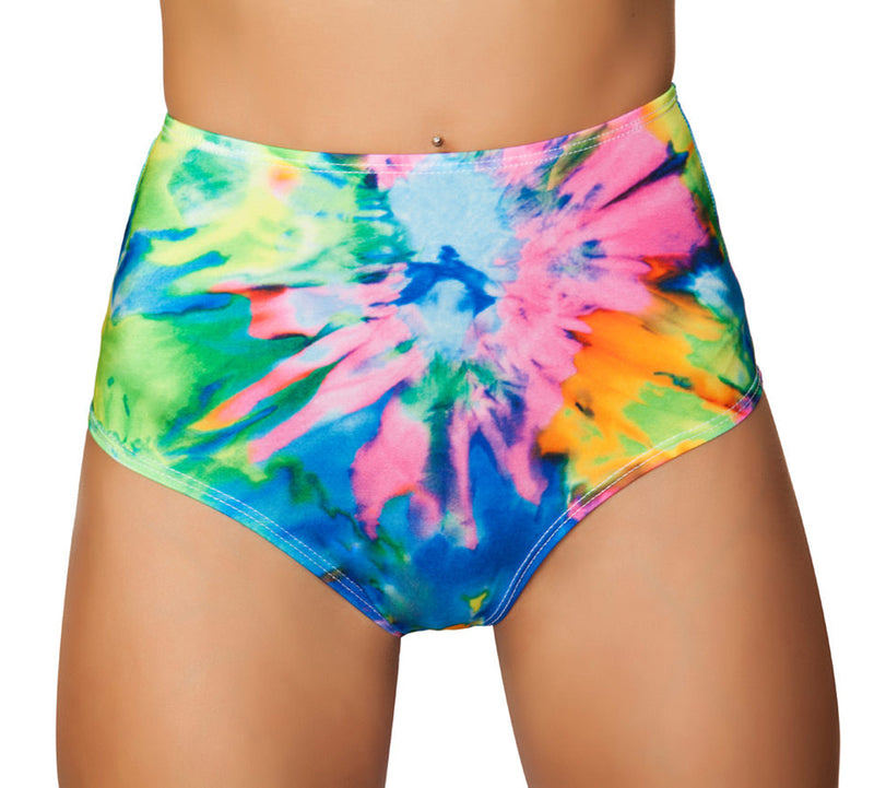 Printed High Waisted Shorts RM-3319 Front tie dye