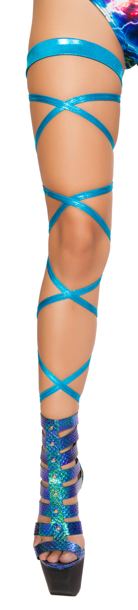Leg Strap with Attached Garter Turquoise
