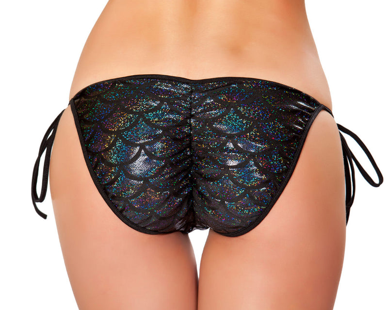 RM-3328 Mermaid Tie Side Bikini Bottom Back Black